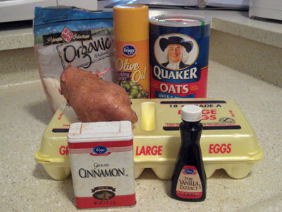 Sweet potato muffin ingredients