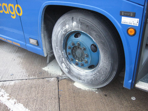 The smokin' Megabus wheels